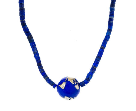 Blue Enamel Gold Globe Necklace - TWISTonline