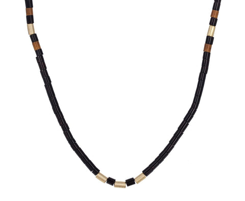 Tucum Shell and Gold Bead Necklace zoom 1_luis_morais_gold_black_beaded_necklace