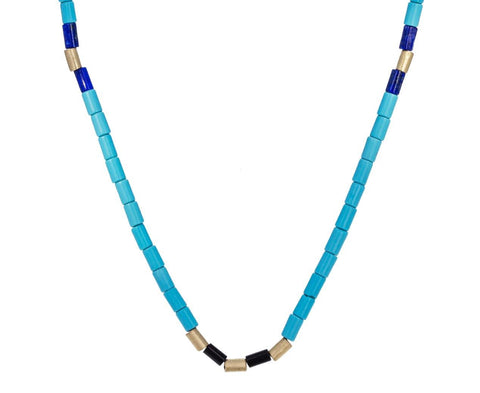 Turquoise, Lapis and Tucum Shell Bead Necklace - TWISTonline