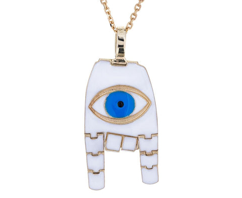 Evil Eye Karana Mudra White Hand Pendant Necklace - TWISTonline