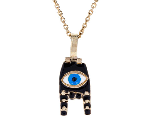 Evil Eye Karana Mudra Black Hand Pendant Necklace - TWISTonline