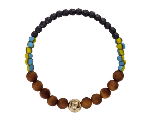 Gold Star and Wood Bead Bracelet - TWISTonline
