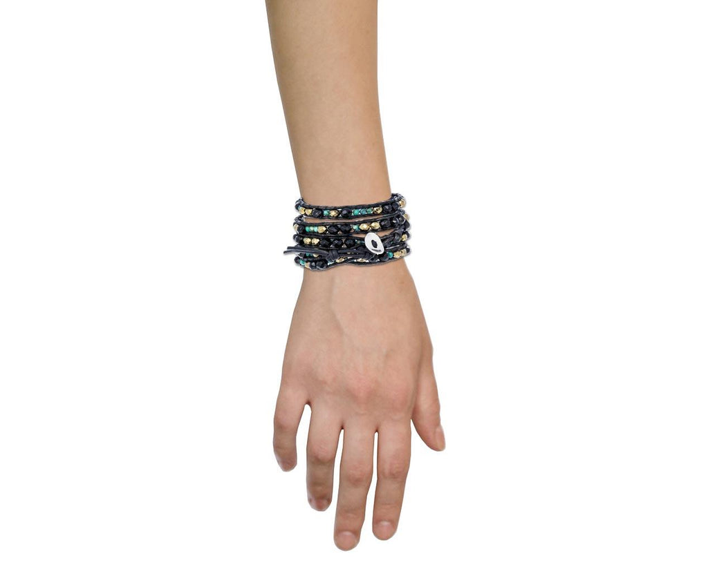 Turquoise and Black Onyx Mix Wrap Bracelet - TWISTonline