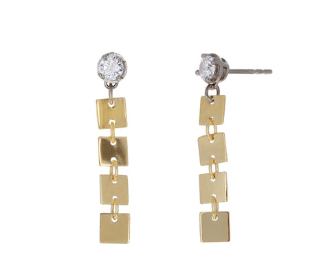 Diamond Four Square Earrings