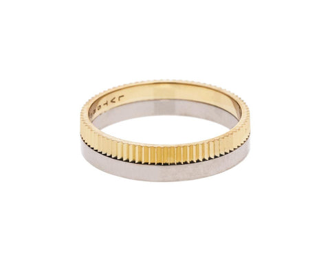Structured Slim One Yellow White Gold Band - TWISTonline