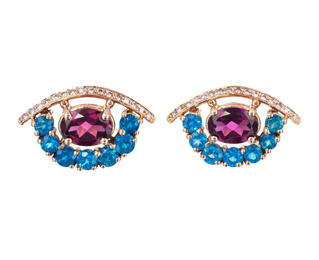 Mixed Gem Protective Eye Earrings - TWISTonline
