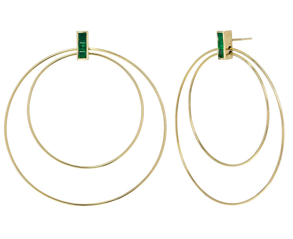 Emerald Double Hoop Earrings - TWISTonline