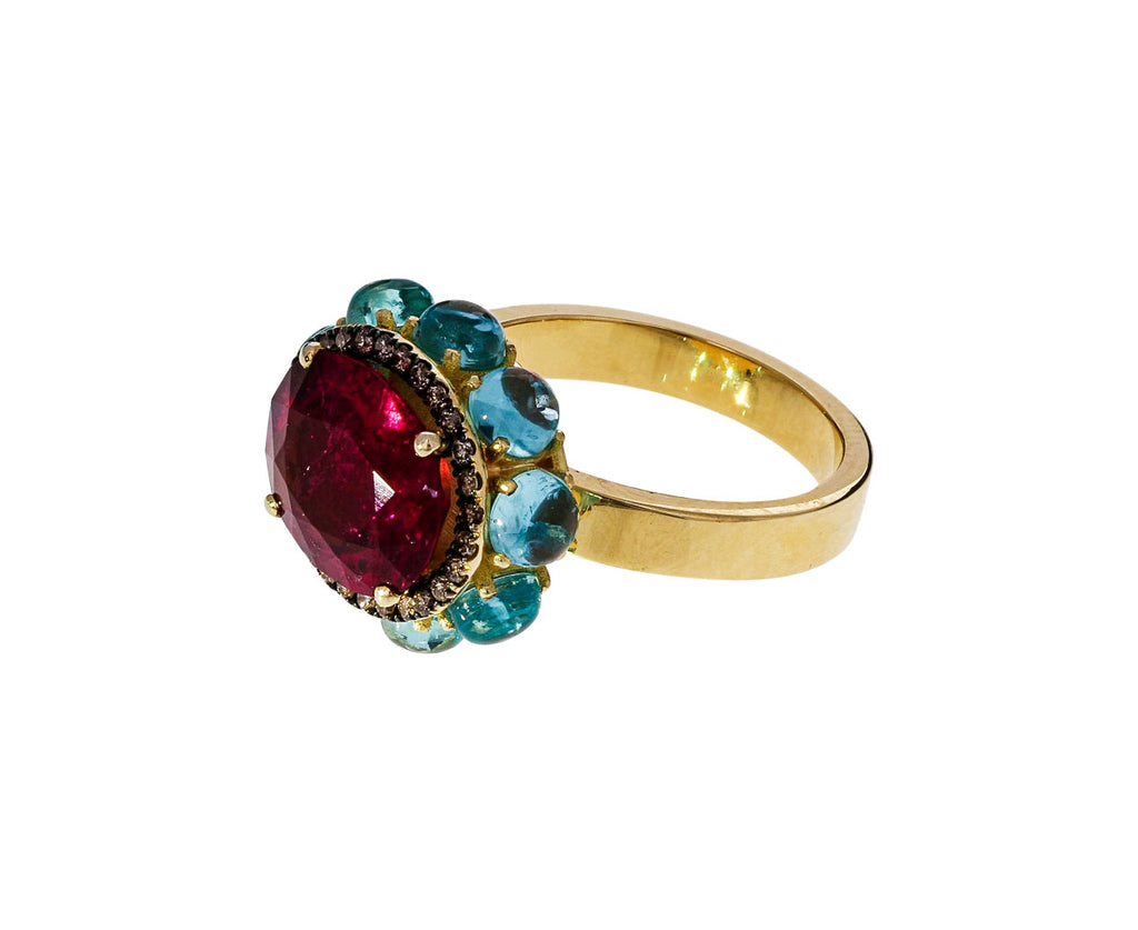 Red Tourmaline Flower Ring