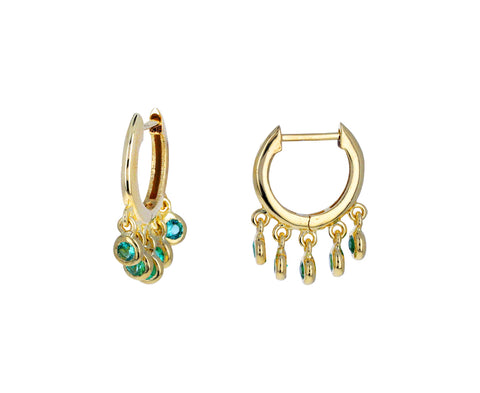 Emerald Dangle Hoops