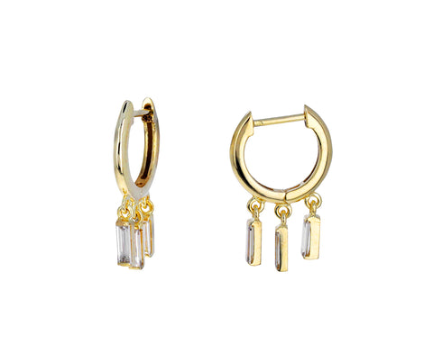 Baguette Diamond Dangle Hoops