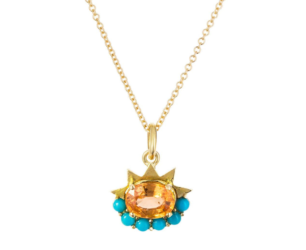 Turquoise and Garnet Dream Flower Pendant Necklace - TWISTonline