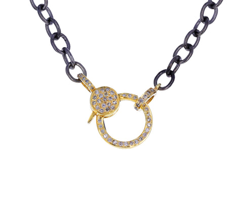 Long Silver and Gold Diamond Clasp Chain