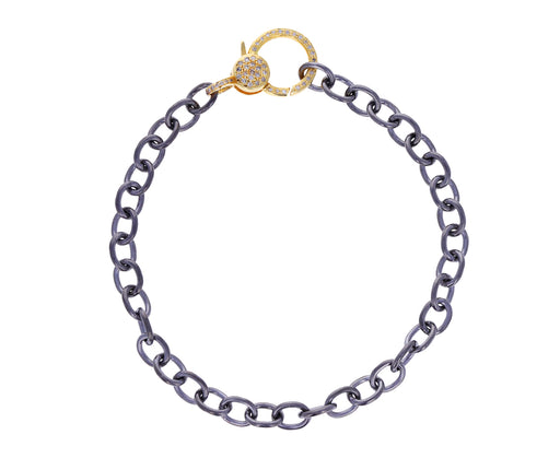 Sterling Silver and Gold Diamond Lock Chain