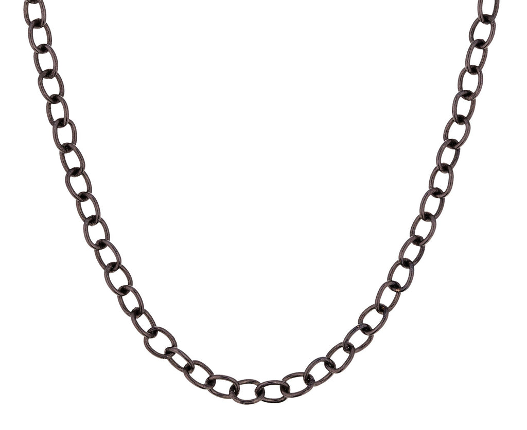 Long Oxidized Silver Lock Chain