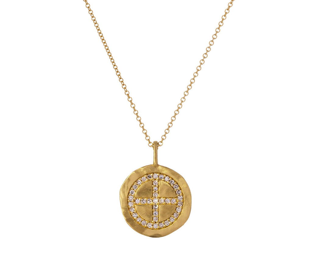 Diamond Wheel Cross Pendant Necklace