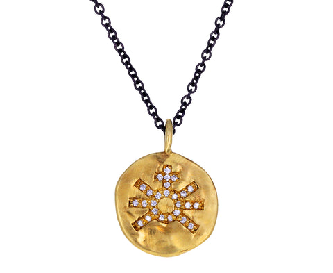 Diamond Sun Cross Carved Pendant Necklace