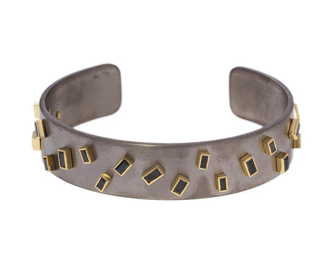 Wide Titanium Cuff with Black Diamond Baguettes zoom 1_ileana_makri_black_diamond_sprinkles_titan_brace
