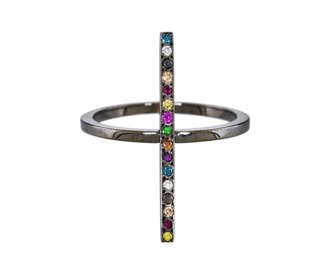 Blackened Gold and Semiprecious Stone Cross Ring zoom 1_ileana_makri_mixed_stone_double_cross_over_ring