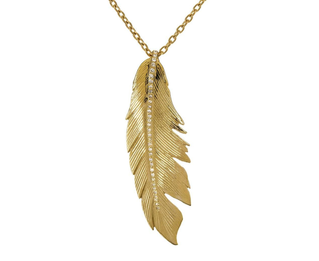 Large Diamond Stripe Feather Pendant - TWISTonline