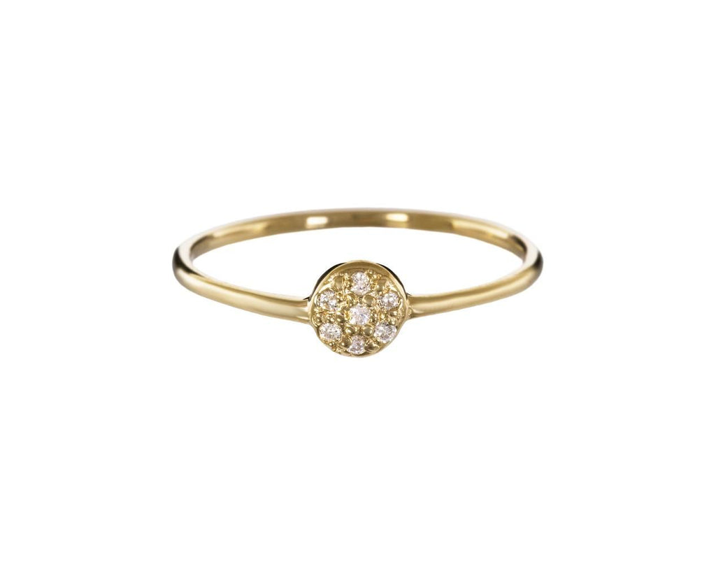 Tiny Gold Disc Diamond Pavé Solitaire - TWISTonline