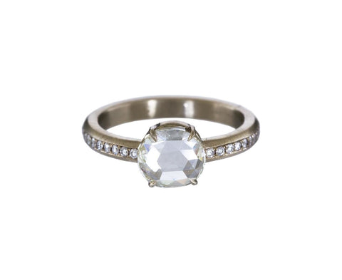 Rose Cut Diamond Solitaire Ring zoom 1_mandrel_studio_gold_rosecut_diamond_pave_band_ri