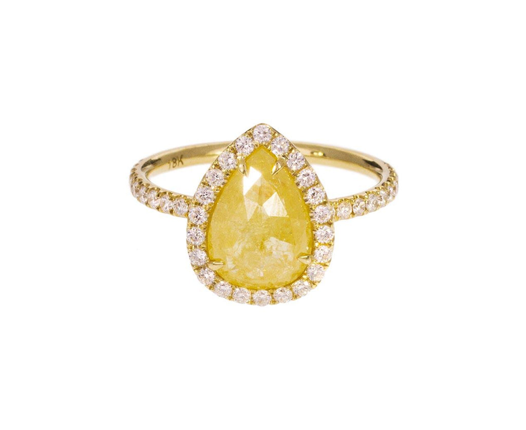 Pear Shaped Yellow Diamond Halo Solitaire - TWISTonline