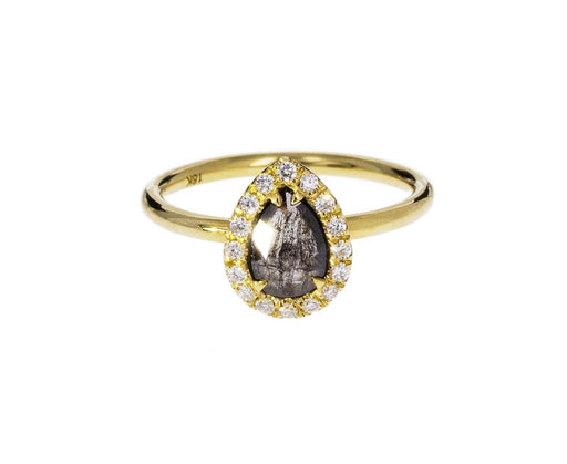Salt and Pepper Pear Shaped Diamond Halo Solitaire - TWISTonline
