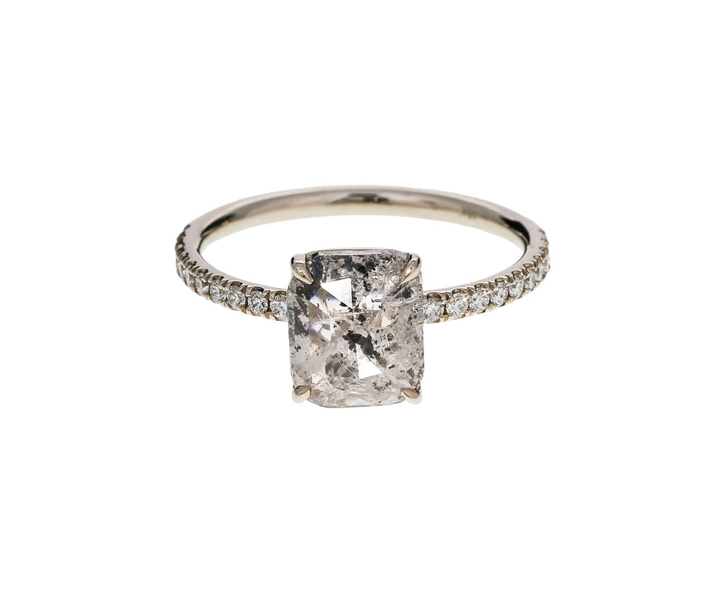 Salt and Pepper Cushion Cut Diamond Solitaire
