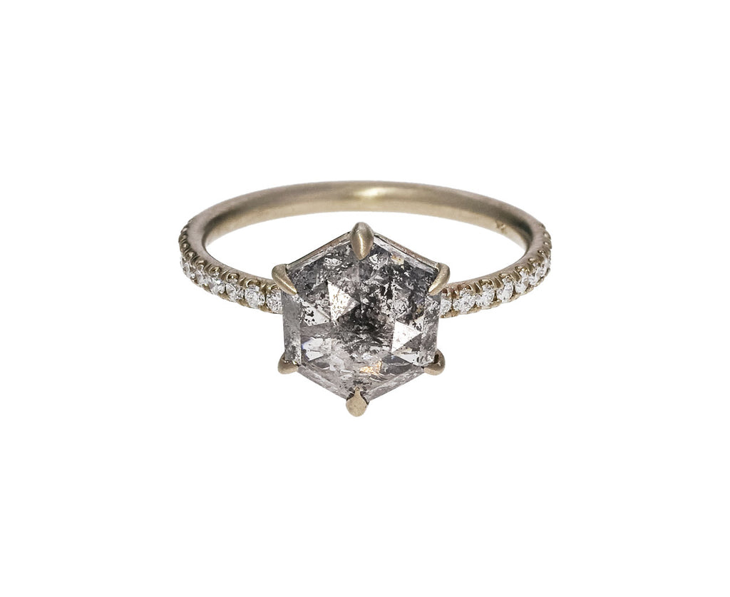 Salt and Pepper Hexagon Diamond Solitaire - TWISTonline