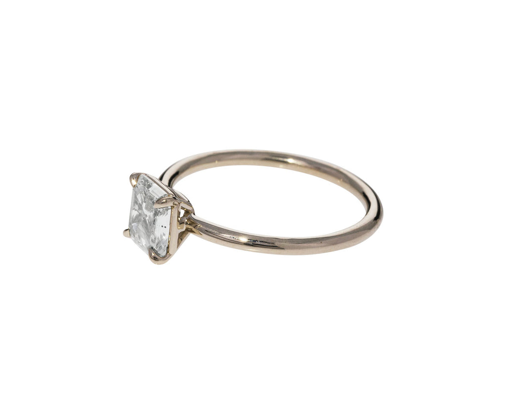 Square Champagne Diamond Solitaire