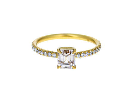 Light Champagne Asscher Cut Diamond Solitaire