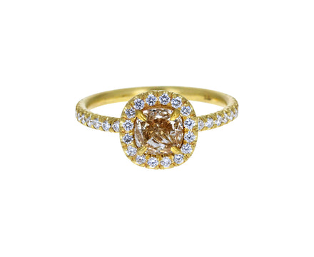 Champagne Cushion Cut Diamond Halo Solitaire