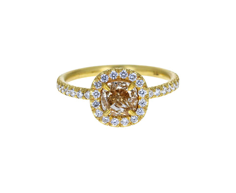 Champagne Cushion Cut Diamond Halo Solitaire - TWISTonline