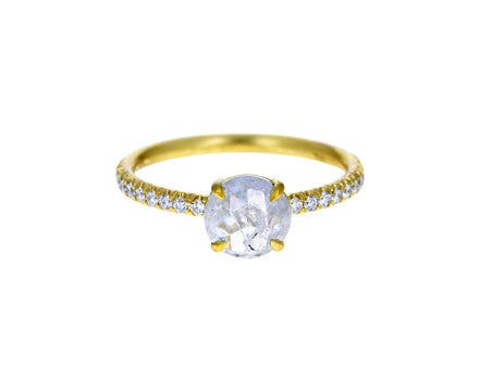 Light Gray Rose Cut Diamond Solitaire with Diamond Band