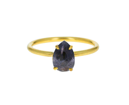 Dark Gray Pear Diamond Solitaire