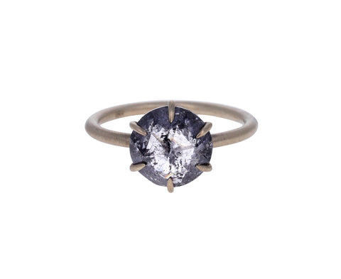 Round Salt and Pepper Diamond Solitaire Ring