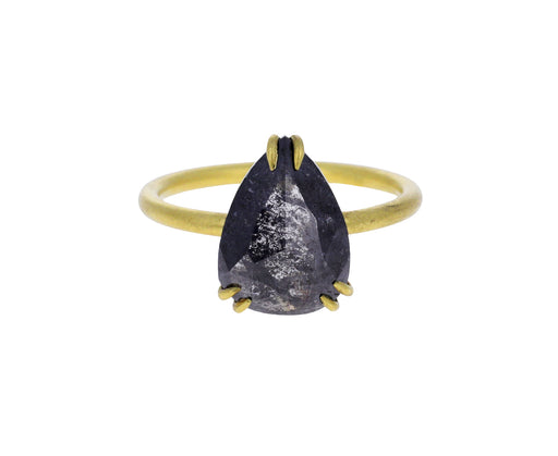 Dark Salt and Pepper Pear Shaped Diamond Solitaire Ring