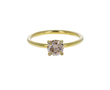 Round Full Cut Champagne Diamond Solitaire Ring