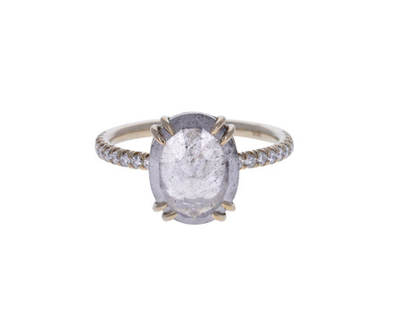 Oval Gray Diamond Solitaire Ring