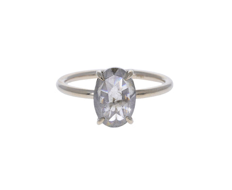 Rose Cut Oval Gray Diamond Solitaire Ring