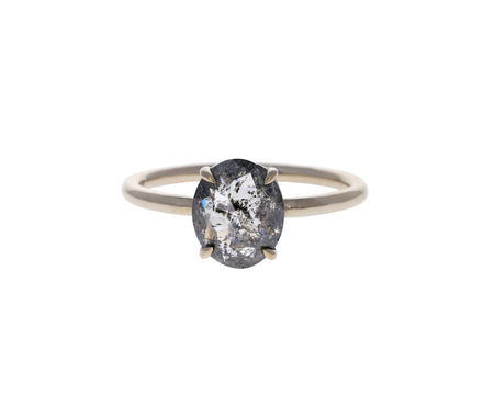 Salt and Pepper Rose Cut Diamond Solitaire