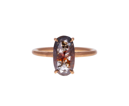 Brown Rustic Oval Diamond Solitaire