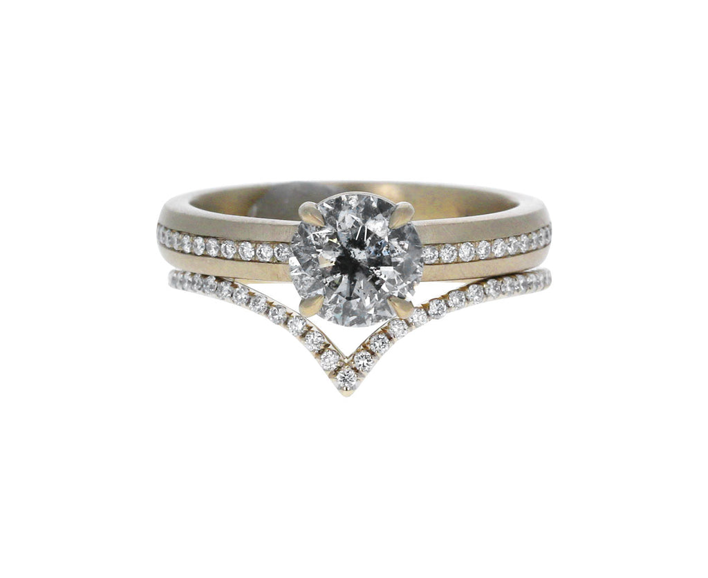 Gray-White Diamond Solitaire with Micro Pavé Band