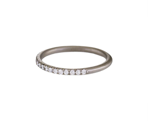 White Gold Half Diamond Wire Band - TWISTonline