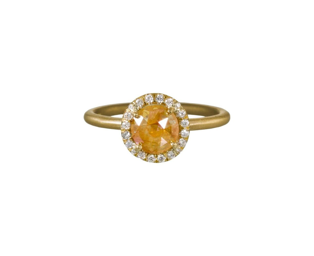 Canary Yellow Rustic Diamond Halo Solitaire - TWISTonline