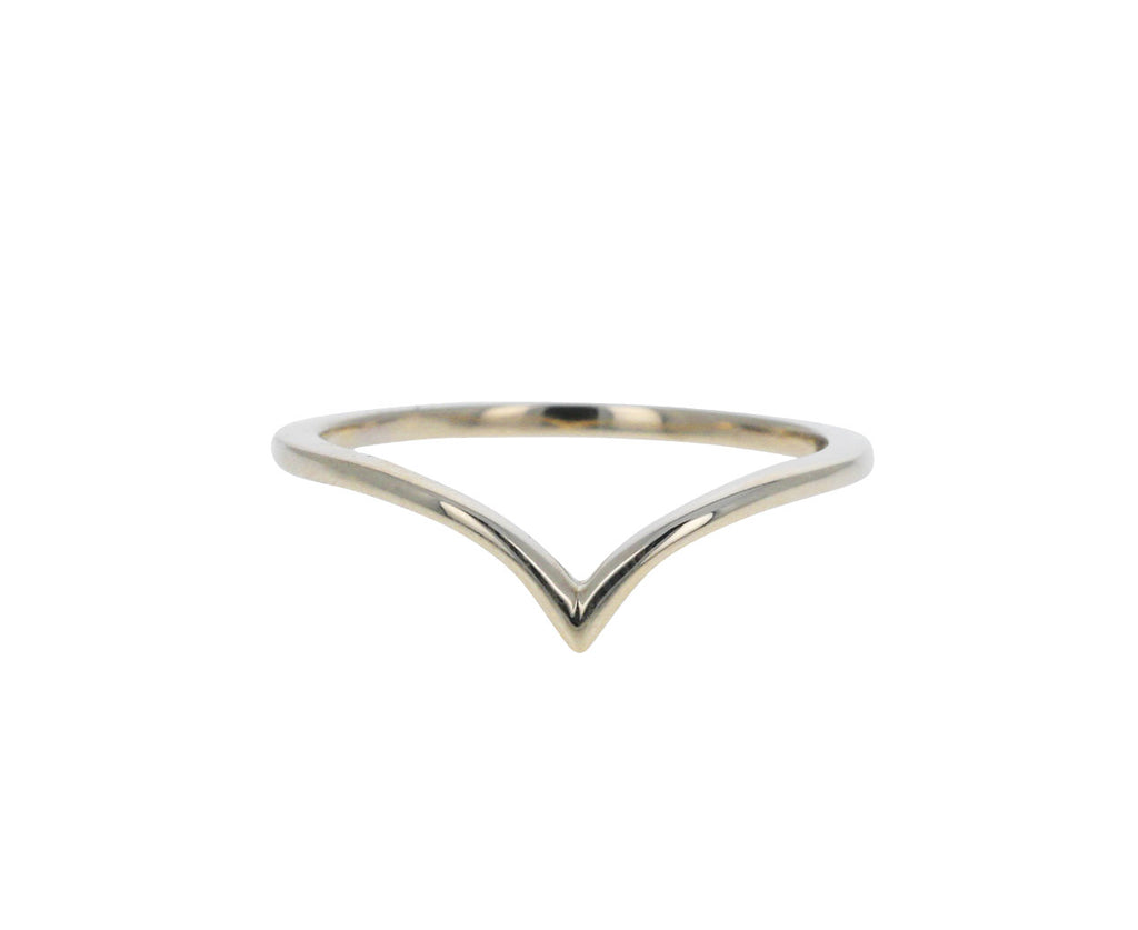Polished White Gold Universal V Shaped Band