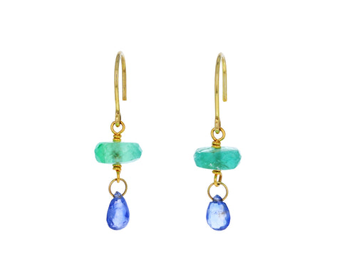 Emerald and Blue Sapphire Briolette Spun Sugar Earrings