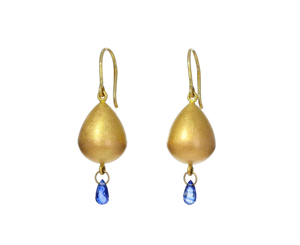 Blue Sapphire Gold Buoy Earrings - TWISTonline