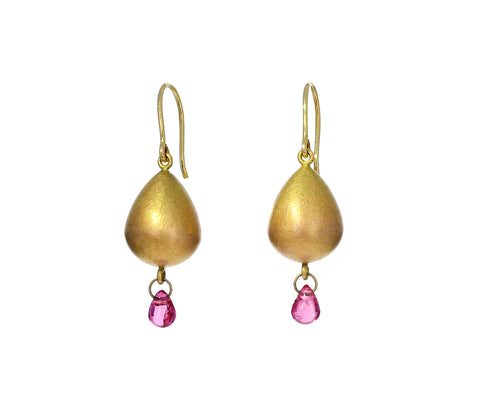Pink Spinel and Gold Buoy Earrings
