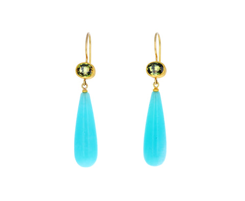 Oval Green-Brown Sapphire and Amazonite Apple and Eve Earrings